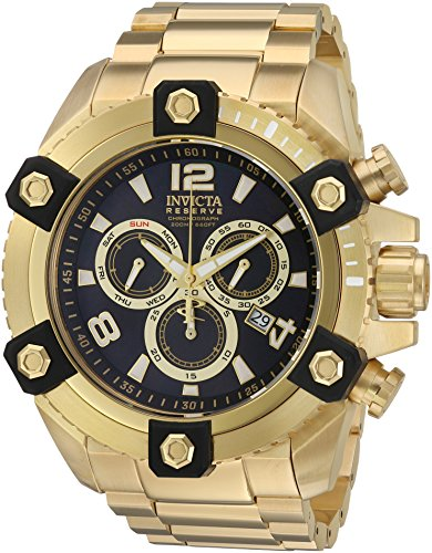Invicta Men Swiss Quartz Steel Watch - Invicta Men's 'Reserve' Swiss Quartz Stainless Steel Casual Watch, Color Gold-Toned (Model: 15827)