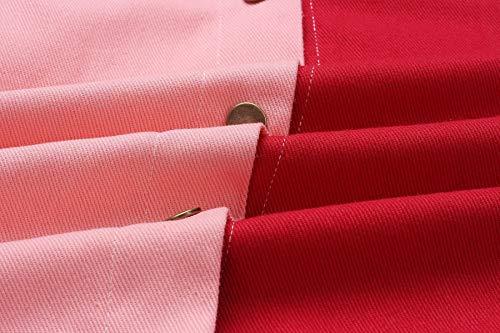 Rosso Patchwork E Corto Casual Lunga Cime Giovane Jacket Autunno Primavera Tops fashion Manica Coat Giacche Outerwear Donna Cappotto Simple Giacca Moda WnRfxw