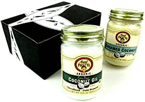 Aunt Patty's Organic Coconut Variety: One 12 oz Jar of Organic Extra Virgin Coconut Oil and One 13 oz Jar of Creamed Coconut in a Gift Box