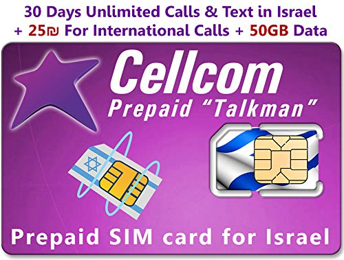Amazon.com: Israel Prepaid SIM Card from Cellcom, Including ...