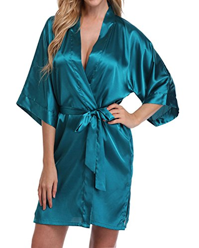 Women's Short Satin Kimono Robe for Bride and Bridesmaids Party Blackish Green XXXL