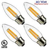 Luxrite LR21207 (4-Pack) LED Filament Medium Base Torpedo Tip Chandelier ...