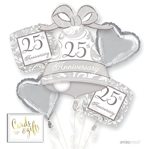 Andaz Press Balloon Bouquet Party Kit with Gold Cards & Gifts Sign, 25th Anniversary Silver Wedding Bell Foil Mylar Balloon Decorations, 1-Set - 25th Bells