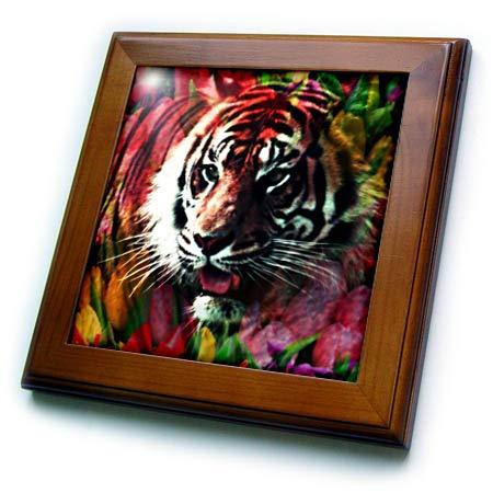 (3dRose Cassie Peters Big Cat - Tiger Spring Flower - 8x8 Framed Tile (ft_287073_1))