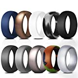Rinspyre 10 Pack Silicone Wedding Ring for Men Rubber Bands, Black White Blue Camo Silver Gray Size 10