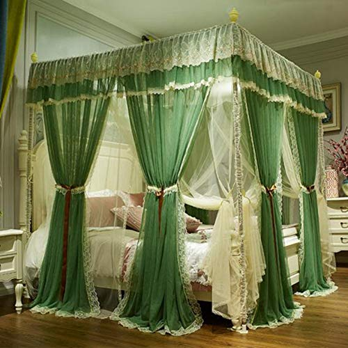 KE & LE 4 Corners Tent Mesh Canopy Curtains with Bottom Curtains for Girls, Cozy Drape Mosquito Net Openings Mosquito Tent Cute Princess Bedroom Decoration Accessories-b W:180cmxh:210cmxd:220cm by KE & LE (Image #7)
