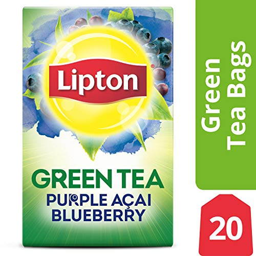 Lipton Green Tea Bags, Purple Acai Blueberry, 20 ct Pack of 6 (Passion Fruit Blackberry Tea)