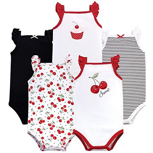 Cherry Girl - Hudson Baby Unisex Baby Sleeveless Cotton Bodysuits, Cherries 5-Pack, 3-6 Months (6M)