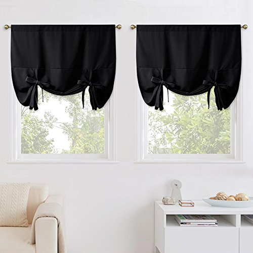 "NICETOWN Black Out Curtains for Apartment - Adjustable Tie Up Shade Balloon Valance Blinds for Bay Window (2 Panels, Rod Pocket Panel, 46"" W x 63"" L)"