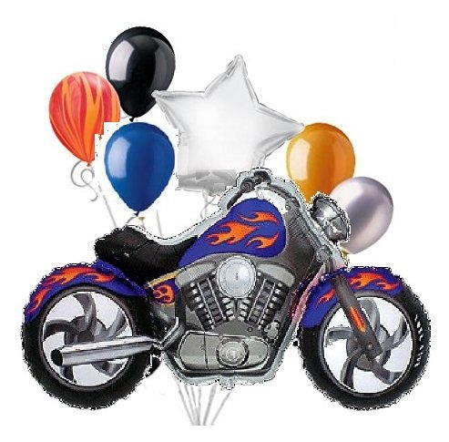 7pc Pieces BLUE Motorcycle with Orange-Yellow Flames Mylar and Latex Balloon Bouquet Set ()