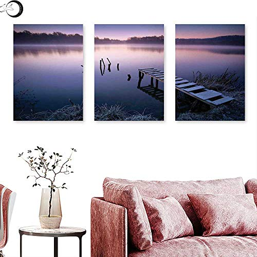 """J Chief Sky Seascape Wall hangings Misty Lake Wooden Pier Distant Forest in Early Morning Fantasy Dreamy Triptych Wall Art Lavender Navy Blue Triptych Art Canvas W 24"""" x L 48"""" x3pcs"""