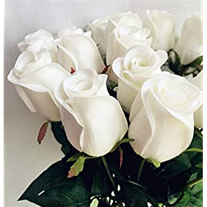 jiumengya 10pcs Real Touch Rose Fake Latex White Rose Flower Artificial Roses 43cm for Wedding Party Artificial Decorative Flowers 13