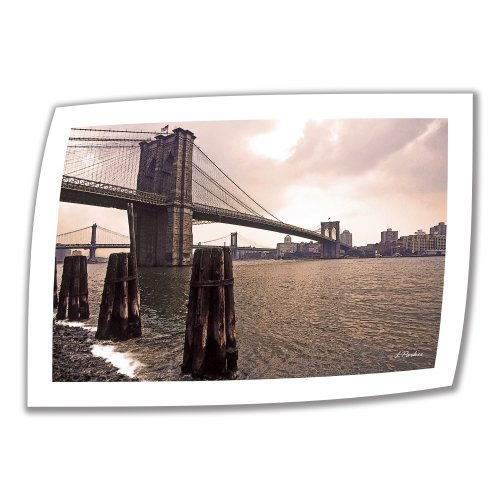 (ArtWall Brooklyn Bridge at Sunset 12 by 18-Inch Unwrapped Canvas Art by Linda Parker with 2-Inch Accent Border)