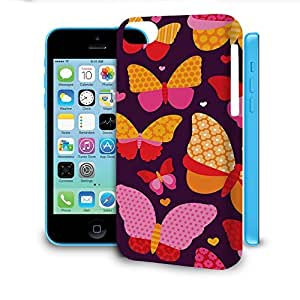 Phone Case For Apple iPhone 5C - Hot Pink Butterflies Snap-On Wrap-Around