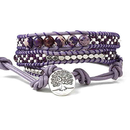 Handmade Charm Bangle Bracelet 3 Wrap Leather Tree of Life Button Purple Jasper Beads Wrap Bracelet