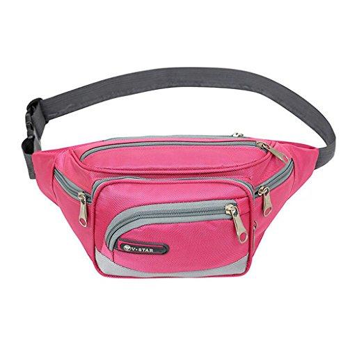 Sac Sac 6 Zipper Pack Fanny Multi Poches Taille Femmes Rose Fonctionnelle Facile Hommes Taille Pink Sports à Et Porter Mode Pratique pdqUd