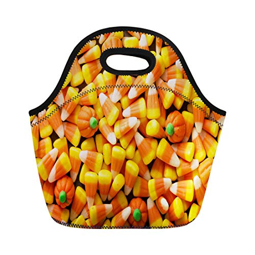 Semtomn Lunch Tote Bag Colorful Candy Corn and Pumpkin Halloween Overhead Shot Orange Reusable Neoprene Insulated Thermal Outdoor Picnic Lunchbox for Men -