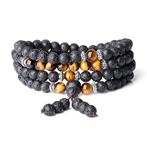 - COAI 6mm Semi Precious Stones Lava Tiger Eye Mala Prayer Bracelet Necklace