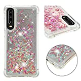 Cfrau Liquid Case with Black Stylus,Women Girls Luxury Love Hearts Stars Bling Glitter Diamond Sparkle Floating Shockproof Quicksand TPU Case Compatible with Huawei P30,Rose Gold Hearts