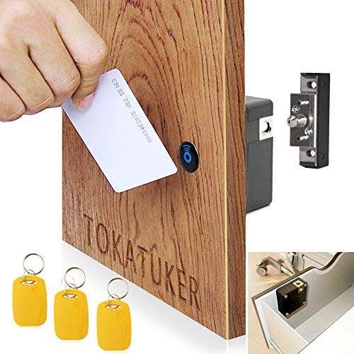 Electronic Cabinet Lock Kit Set Hidden DIY Lock for Wooden Cabinet Drawer Locker RFID Card/Tag Entry (Electronic Safe Magnet)