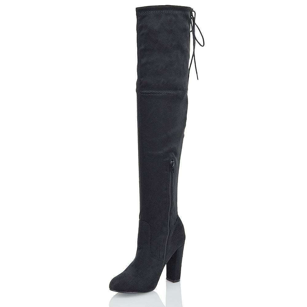 9a90a6d0481 ESSEX GLAM New Womens Thigh High Boots Ladies Over The Knee Stretch Evening  Block Mid Heel  Amazon.co.uk  Shoes   Bags