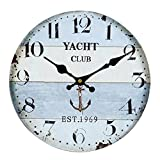 Vintage Wall Clock Rustic Shabby Chic Home Kitchen Wooden 30cm Decor #25