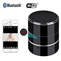 Bluetooth Music Player - HD 1080P WIFI Hidden Camera - Wireless Stereo Speaker Spy Cam - Mini Nanny Cameras - Motion Detection Alarm - Up to 128G