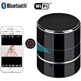 Bluetooth Music Player - HD 1080P WIFI Hidden Camera - Wireless Stereo Speaker Spy Cam - Mini Nanny Cameras - Motion Detection Alarm - Up to 128G - Support Left/Right Rotate 180°