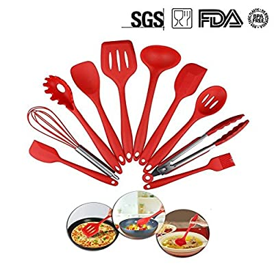 Silicone Kitchen Utensils Set, 10 Pieces Silicone Cooking & Baking Tool Sets Non-toxic Hygienic Safety Heat Resistant by XUANLAN
