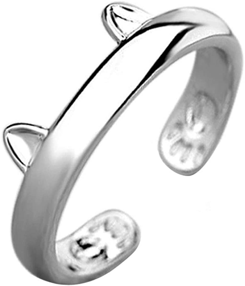 Women Adjustable Silver Plated Cat Ear Open Thumb Ring Jewelry Gifts