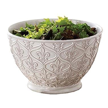 Mud Pie 150061 Fleur-De-Lis Serving Bowl, All Things French