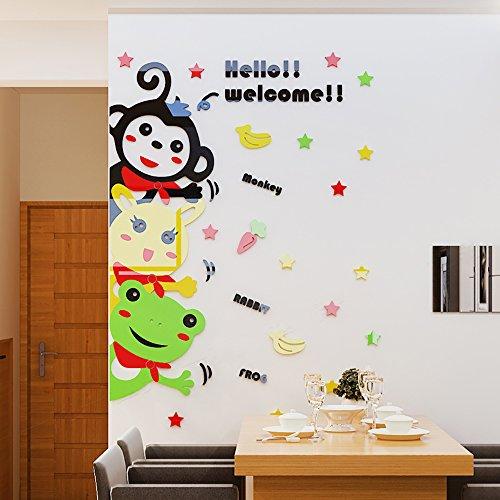 Cartoon Animal Welcome Wall Decal 3D Crystal Acrylic Monkey Rabbit Frog Cartoon Animal Wall Murals for Living Room Children Room Bedroom Classroom ()