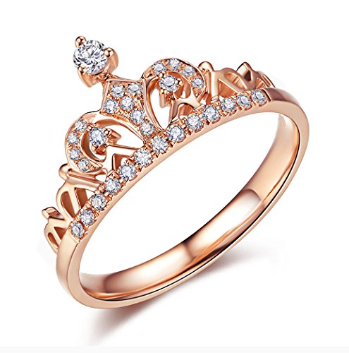 ACEFEEL Rose Gold Plated Cubic Zirconia Crown Tiara Promise Wedding Ring For Her Size 6