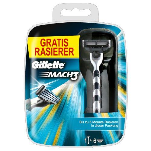 Gillette MACH3 Klingen 6 Stück plus Gratis MACH3 Rasierer (Limited Special Edition)