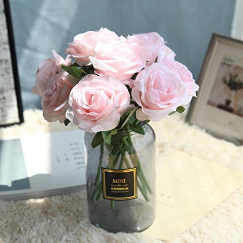 Inverlee 5Pcs Artificial Flowers Rose Floral Fake Flowers Wedding Bridal Bouquet DIY Home Garden Decor (Pink) ()