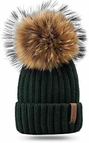 8f1e218821713 FURTALK Kids Winter Pom Beanie Hat Unisex Parent-Child Knit Hats for Women  Girls Boys
