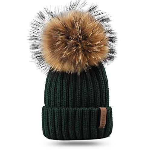 FURTALK Women Hat Warmer Ladies Beanie Bubble Pom Pom Hat Winter Hat