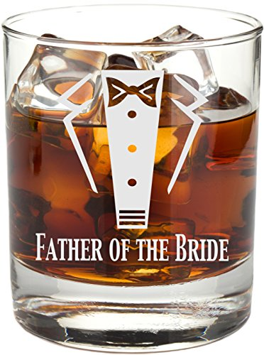 Engraved Tuxedo 11 oz Wedding Party Rocks Glass - Will You Be My? Whiskey Glass (Father of the Bride) by Frederick Engraving