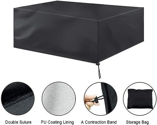 Funda para Muebles de Jardín, Copertura Impermeable para Mesas Rectangular, Cubierta de Exterior Funda Protectora Muebles Mesas Sillas Sofás Exterior 420D Oxford 213 x 132 x 74CM) -Negro (Rectangular): Amazon.es: Jardín