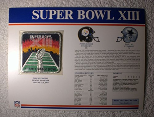 Super Bowl XIII (1979) - Official NFL Super Bowl Patch with complete Statistics Card - Pittsburgh Steelers vs Dallas Cowboys - Terry Bradshaw MVP (Steelers Super Bowl Patches compare prices)