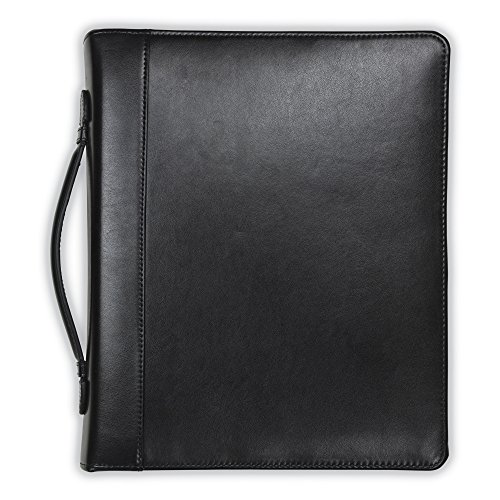 (Samsill Regal Leather Padfolio Zipper 1 inch Ring Binder, Carry Handle, Interior 10.1 Inch Tablet Sleeve, Letter Size Writing Pad, Black)