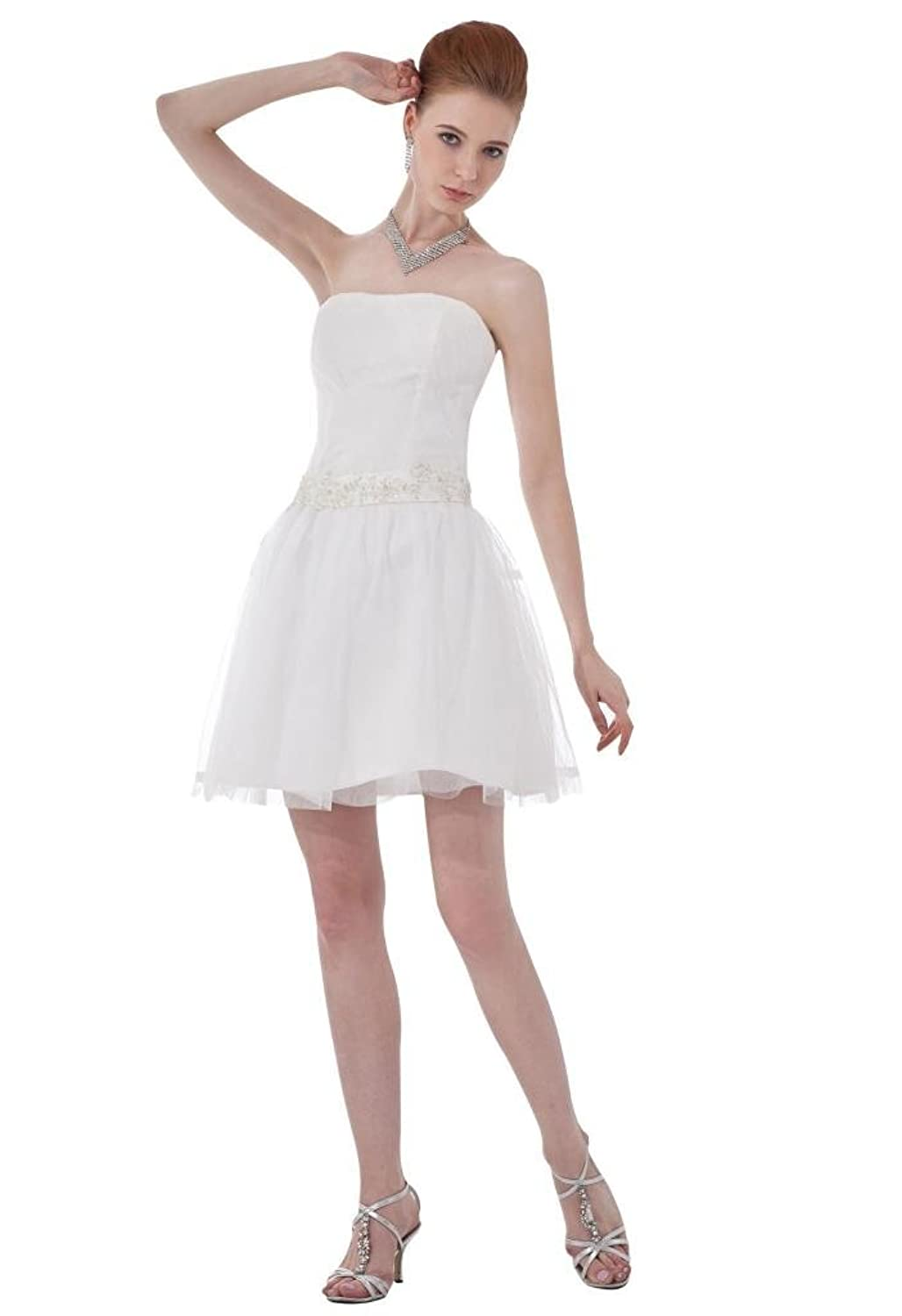 Dramatic mini strapless white sleeveless evening dress TY024