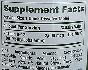 Nature s Bounty 2 Pack Quick Dissolve Fast Acting 2500 mcg Vitamin B-12 Methylcobalamin Natural Cherry Flavor 300 tablets Two Bottles each of 300 Tablets