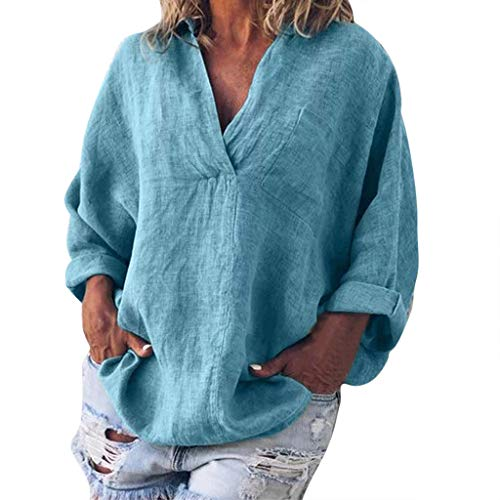 - Plus Size Polyester +Linen T-Shirt Women Fashion Solid Casual V-Neck Long Sleeve Blouse Blue
