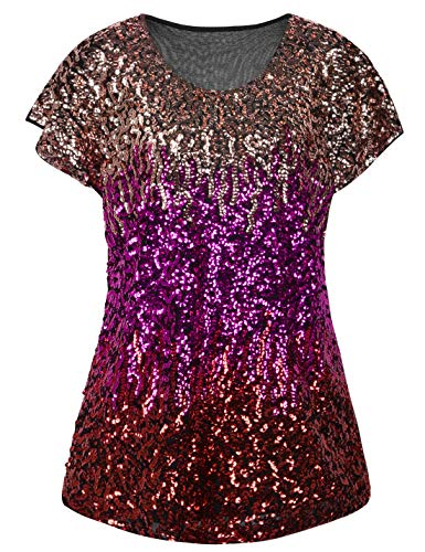 PrettyGuide Women's Evening Tops Sparkle Shimmer Glam Sequin Blouse Pink/Rose/Red ()