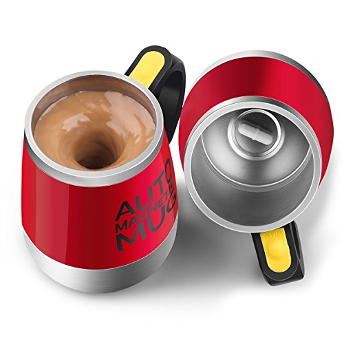 [Update]Stirring Coffee Mug Upintek Magnetic Self Stirring Mug Cup Electric Stainless Steel Auto Self Mixing Cup and Mug for Coffee Traveling Morning Office 450ml/15.2oz-Red