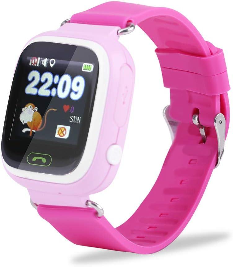 FTVOGUE SOS - Reloj inteligente antipérdida, para niños y niñas, GPS, rastreador de actividad WiFi Inglés-rosa