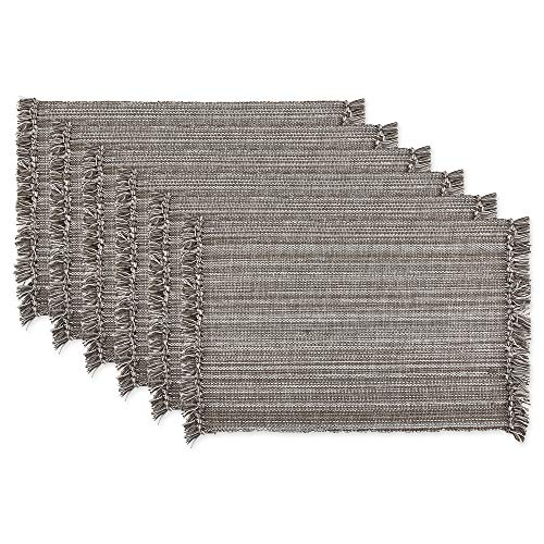 DII Tonal Fringe Placemat, Set of 6, Variegated Gray - Perfect for Fall, Thanksgiving, Dinner Parties, Weddings and Everyday Use (Placemets)
