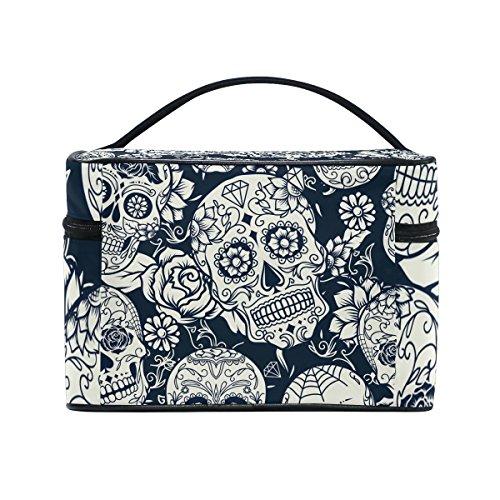 Sugar Skull Dia De Los Muertos Cosmetic Bags Travel Makeup Toiletry Organizer Case