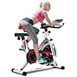 Pro Indoor Cycling Bike, Stationary Bicycle Belt Driven, White